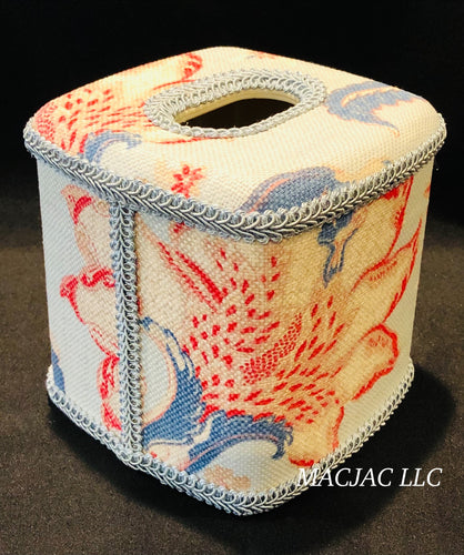 Cottage Blue Fabric Covered Tissue Box Cover