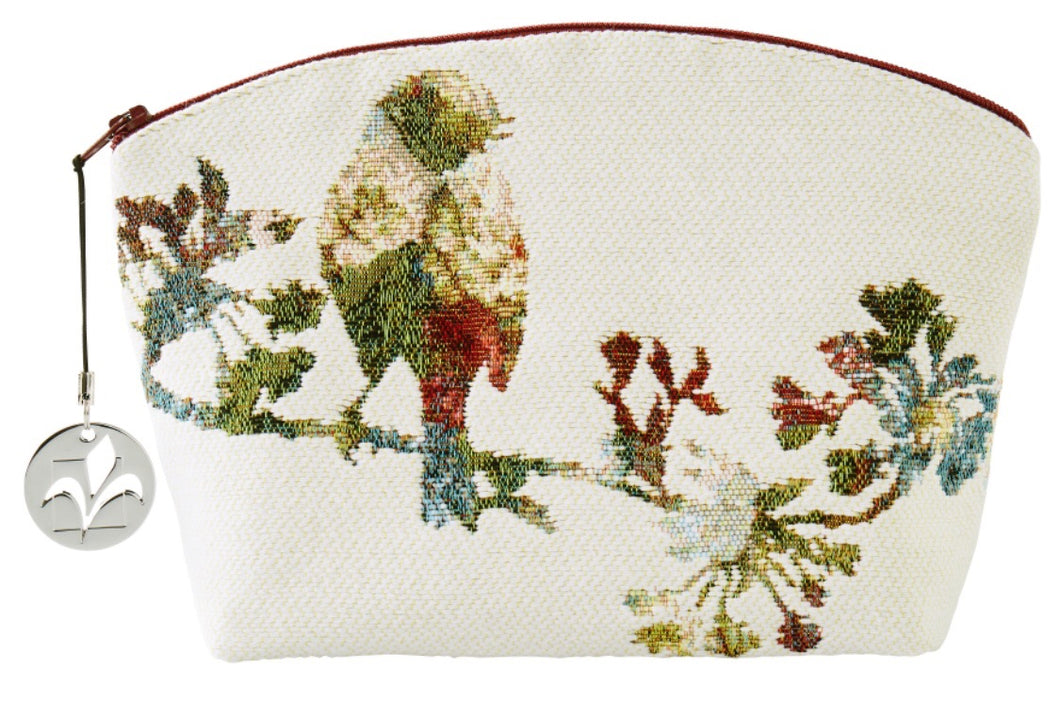 Flowery Birds White Tapestry Purse/Jewelry Bag/Cosmetic Bag