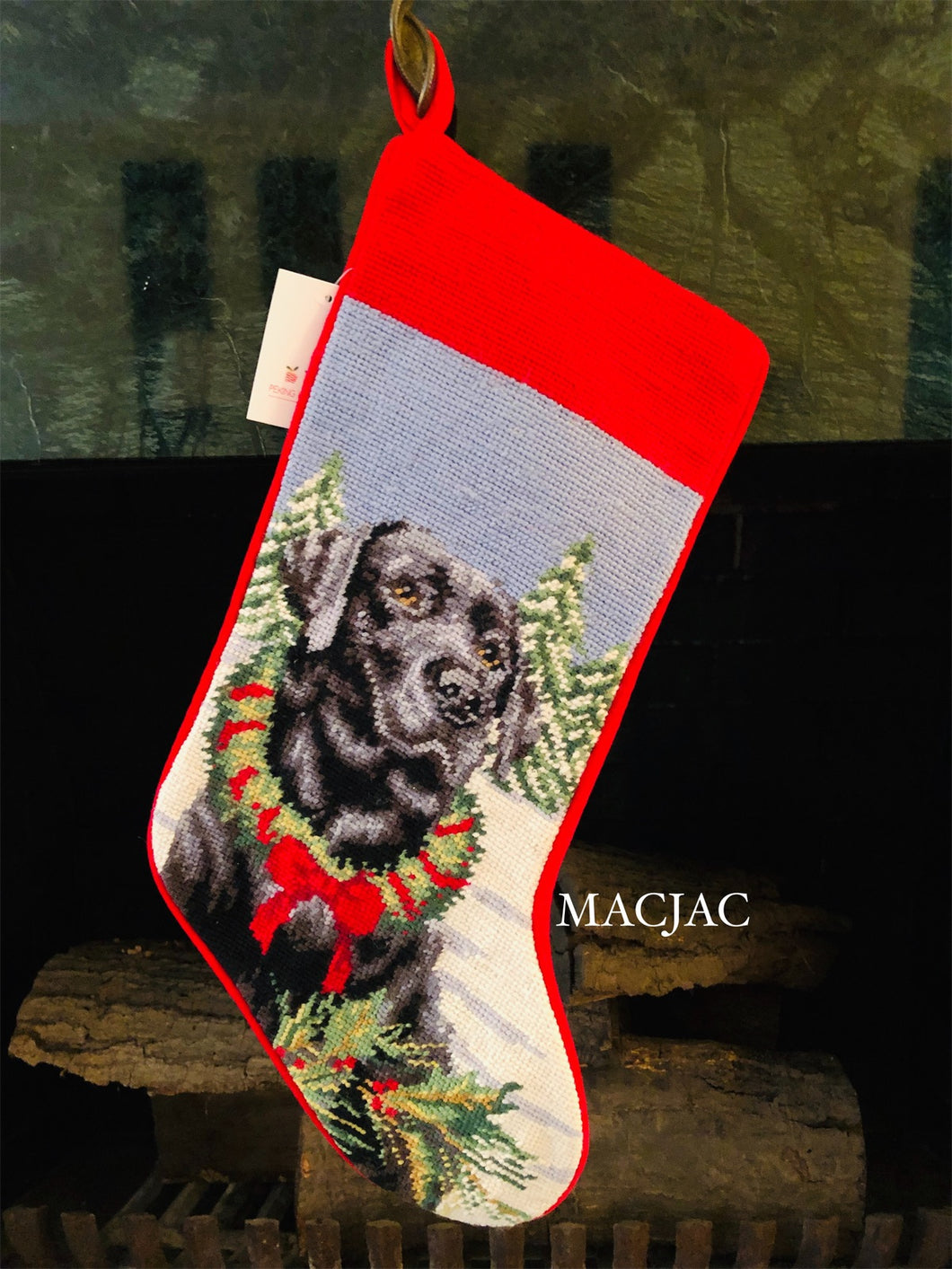 Black Lab Dog Needlepoint Stocking