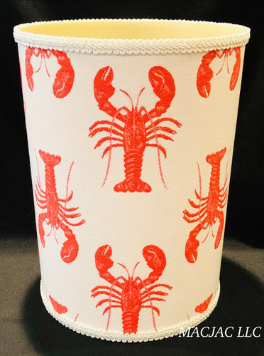 Lobster Fabric Covered Wastebasket