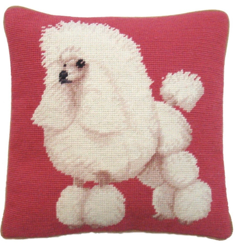 "White Poodle Needlepoint Pillow 13"" x 13"""