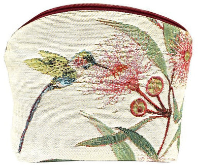 Big Eucalyptus Flower with Hummingbird White Tapestry Purse/Jewelry Bag/Cosmetic Bag