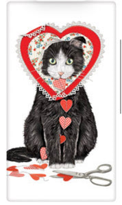 Flour Sack Kitchen Dish Towel Valentine Cat Mary Lake - Thompson