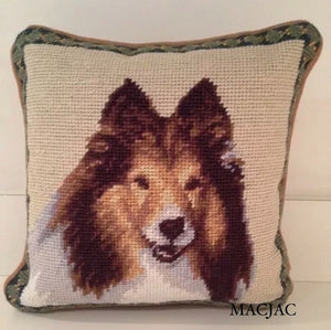 "Sheltie Dog Needlepoint Pillow 10""x10"""