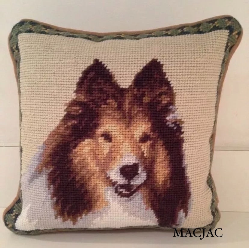 Sheltie Dog Needlepoint Pillow 10