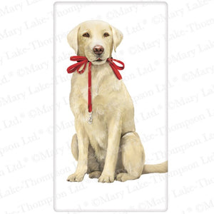 "Flour Sack Kitchen Dish Towel ""Yellow Lab"" Mary Lake - Thompson"