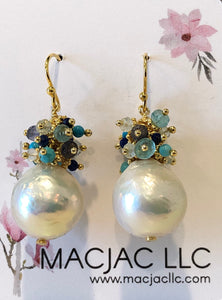Baroque Pearl Pierced Earrings With Blue Clusters