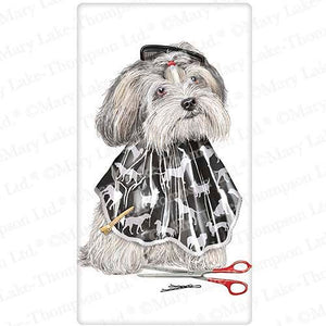 Flour Sack Kitchen Dish Towel Shih Tzu Groomers Mary Lake - Thompson