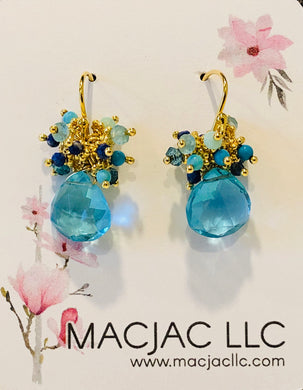 Blue Quartz Pierced Earrings With Blue Clusters