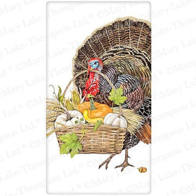 Flour Sack Kitchen Dish Towel Turkey Basket Mary Lake - Thompson