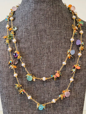 Freshwater Pearl Necklace With Gemstones 35""