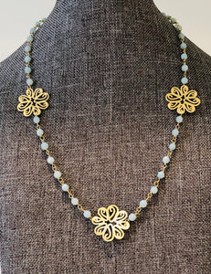 "Green Calcedony Necklace 18""-20"""
