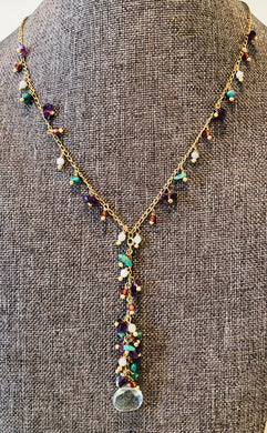"Blue Topaz With Amethyst And Turquoise 18"" Necklace"