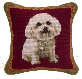"Bichon Dog Needlepoint Pillow 10""x10"""