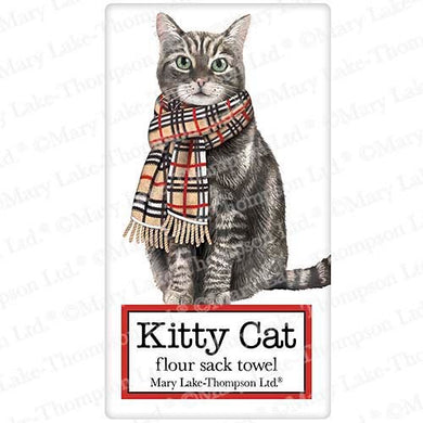 Flour Sack Kitchen Dish Towel Cat Burberry Scarf Mary Lake - Thompson