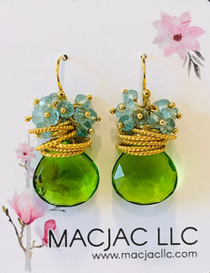 Green Apple Quartz Pierced Earrings With Blue Topaz Clusters