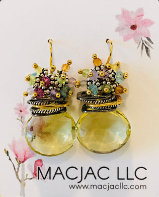 Lemon Citrine Pierced Earrings With Pastel Clusters