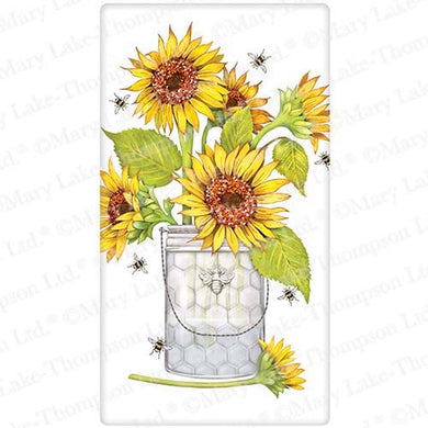 Flour Sack Kitchen Dish Towel Sunflowers And Bees Mary Lake - Thompson
