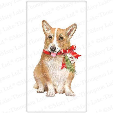 Flour Sack Kitchen Dish Towel Dog Holiday Corgi Mary Lake - Thompson