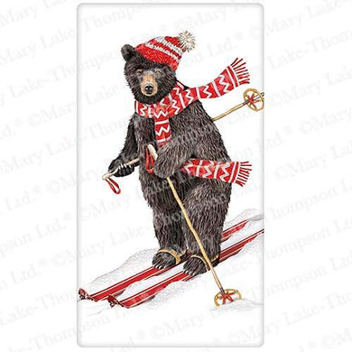 Flour Sack Kitchen Dish Towel Ski Bear With Scarf Mary Lake - Thompson