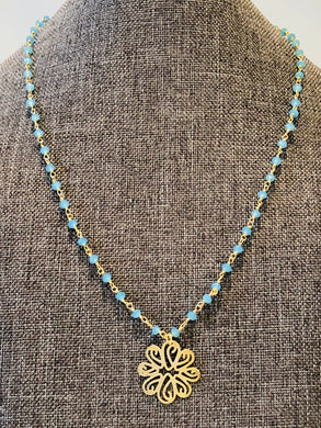 "Turquoise Blue Chalcedony 18"" Necklace"