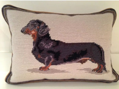 Black Dachshund Dog Needlepoint Pillow 12