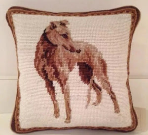 "Greyhound Dog Needlepoint pillow 10""x10"""