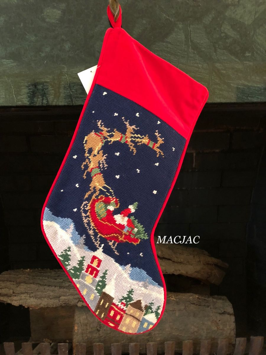 Christmas Santa and Reindeer Needlepoint Stocking