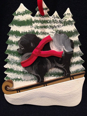 Black Pomeranian Dog Wooden Ornament Made in USA