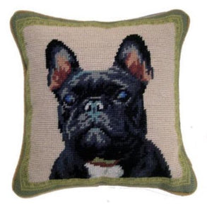 "Black Frenchie Bulldog Needlepoint Pillow 10""x 10"""