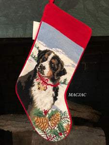 Bernese Mountain Dog Needlepoint Stocking