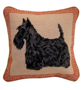 "Black ""Scottie"" Scottish Terrier Dog Needlepoint Pillow 10""x 10"""