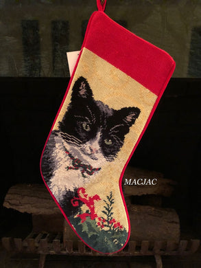 Black White Cat Needlepoint Stocking