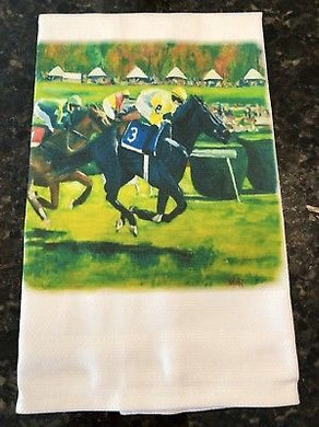 Off To The Races Horse Cotton Huck Towel 18