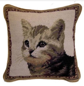 "Cat Needlepoint Pillow 9""X9"""