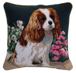 "King Cavalier King Charles Spaniel Dog Needlepoint Pillow 14"" x 14"""