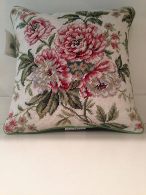Floral Pink Brianna Needlepoint Pillow 14