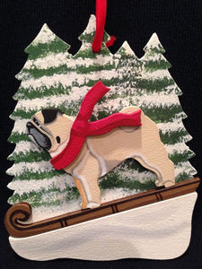 Fawn Pug Dog Wooden Ornament Made in USA