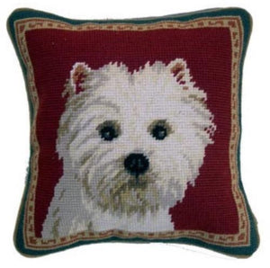 "Westie Dog Needlepoint Pillow 10""x10"""