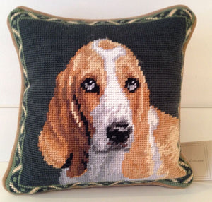 "Basset Hound Dog Needlepoint Pillow 10""x10"""