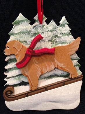 Golden Retriever Dog Wooden Ornament Made in USA