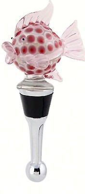 Pink Blowfish Wine Bottle Stopper Art Glass