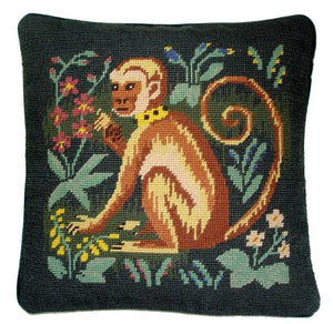 "Needlepoint Monkey Pillow 14""x14"""