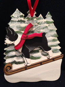 Boston Terrier Black/White Dog Wooden Ornament Made in USA