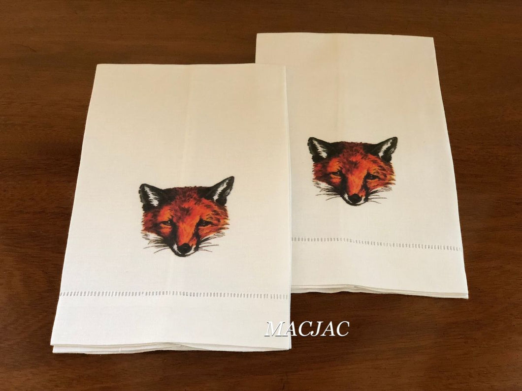 Fox Mask Bar/Hand Linen Towels (set of 2)