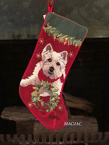 Westie Dog Needlepoint Dog Christmas Stocking