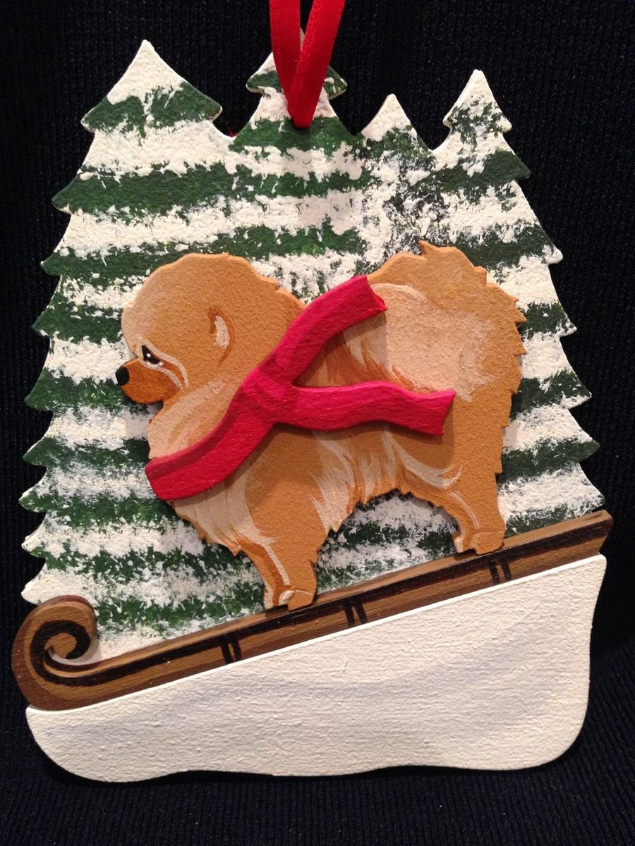 Red Pomeranian Dog Wooden Ornament Made in USA