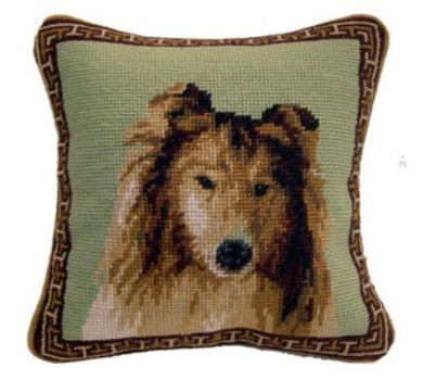 Collie Dog Needlepoint Pillow 10