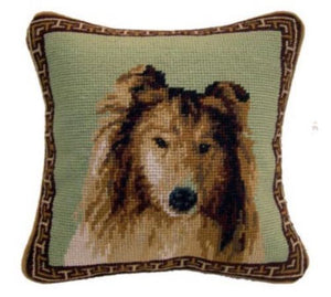 "Collie Dog Needlepoint Pillow 10""x 10"""