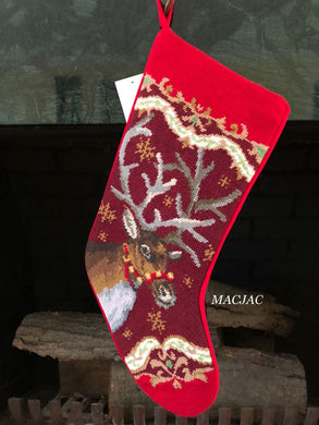 Christmas Deer Needlepoint Stocking